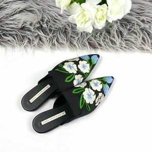Zara Embroidered Floral Pointed Toe Slip-on Mules